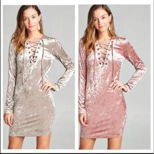 Pink blush Long sleeve ice velvet dress